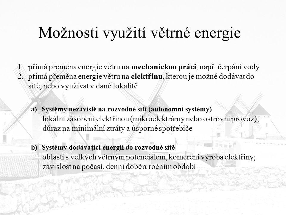 Možnosti využití větrné energie