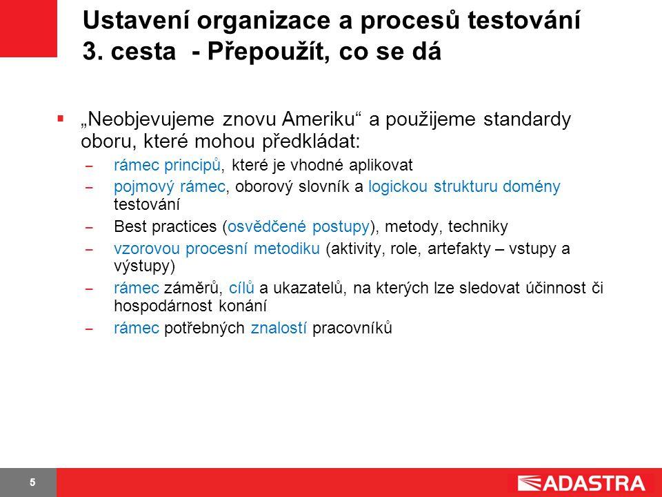 Ustavení organizace a procesů testování 3. cesta - Přepoužít, co se dá