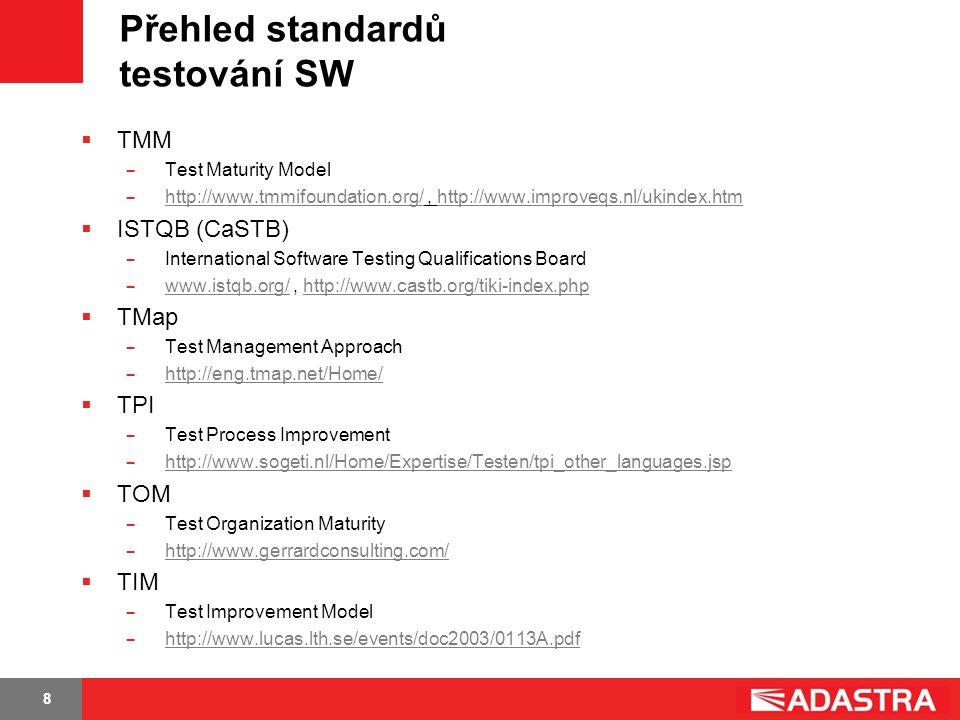 Přehled standardů testování SW