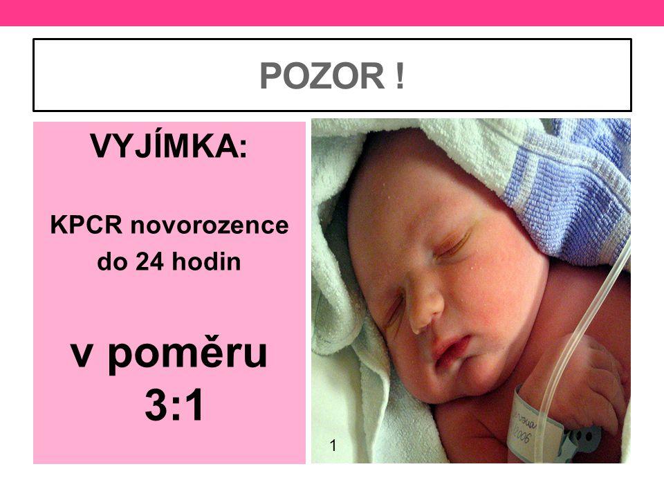 v poměru 3:1 POZOR ! VYJÍMKA: KPCR novorozence do 24 hodin 1
