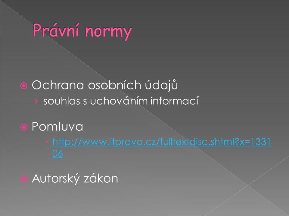 Právní normy Ochrana osobních údajů Pomluva Autorský zákon