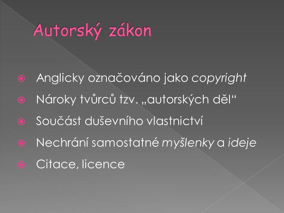 Autorský zákon Anglicky označováno jako copyright
