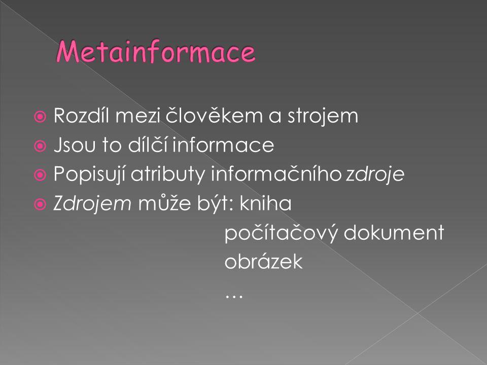 Metainformace Rozdíl mezi člověkem a strojem Jsou to dílčí informace