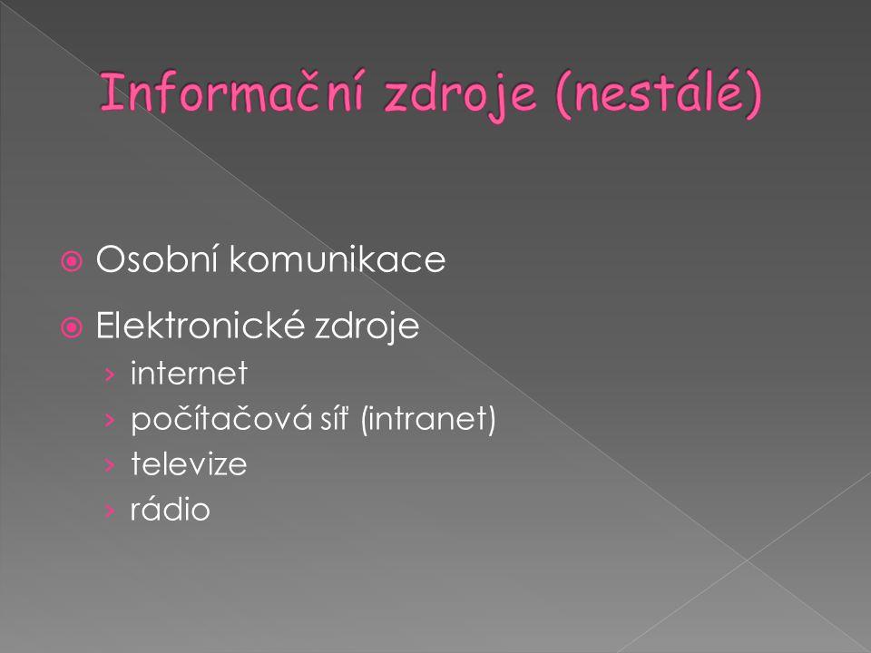 Informační zdroje (nestálé)