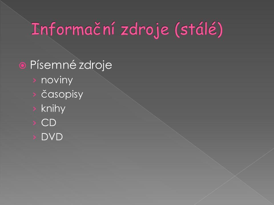 Informační zdroje (stálé)