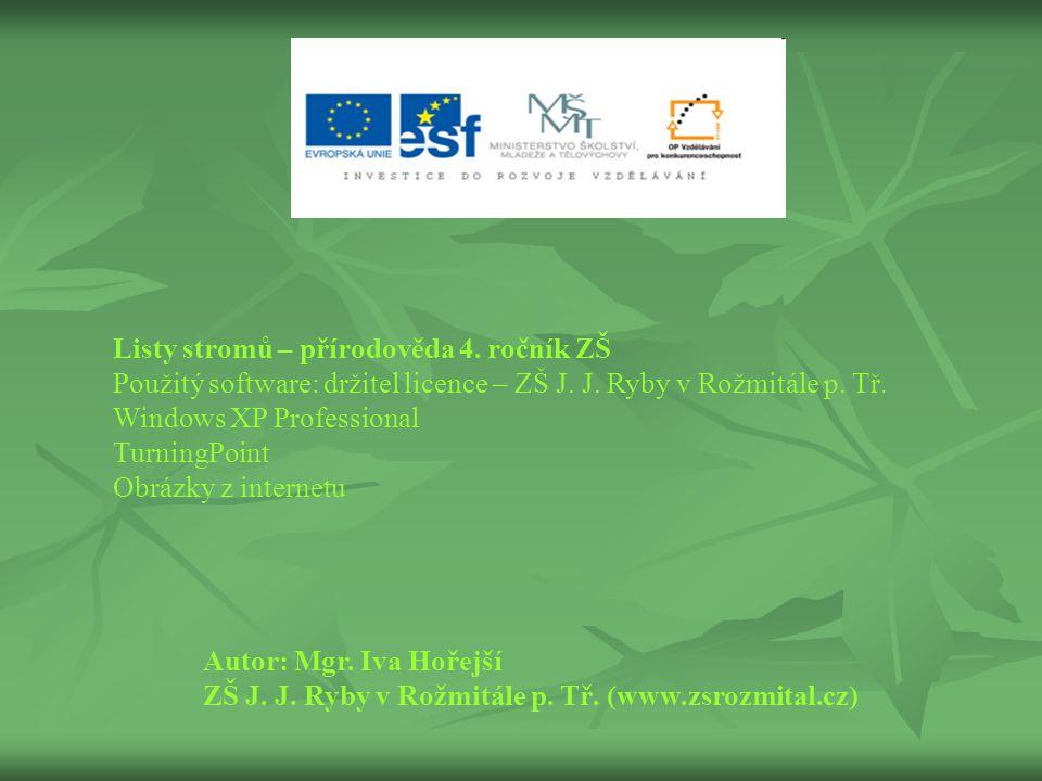 Listy stromů – přírodověda 4. ročník ZŠ