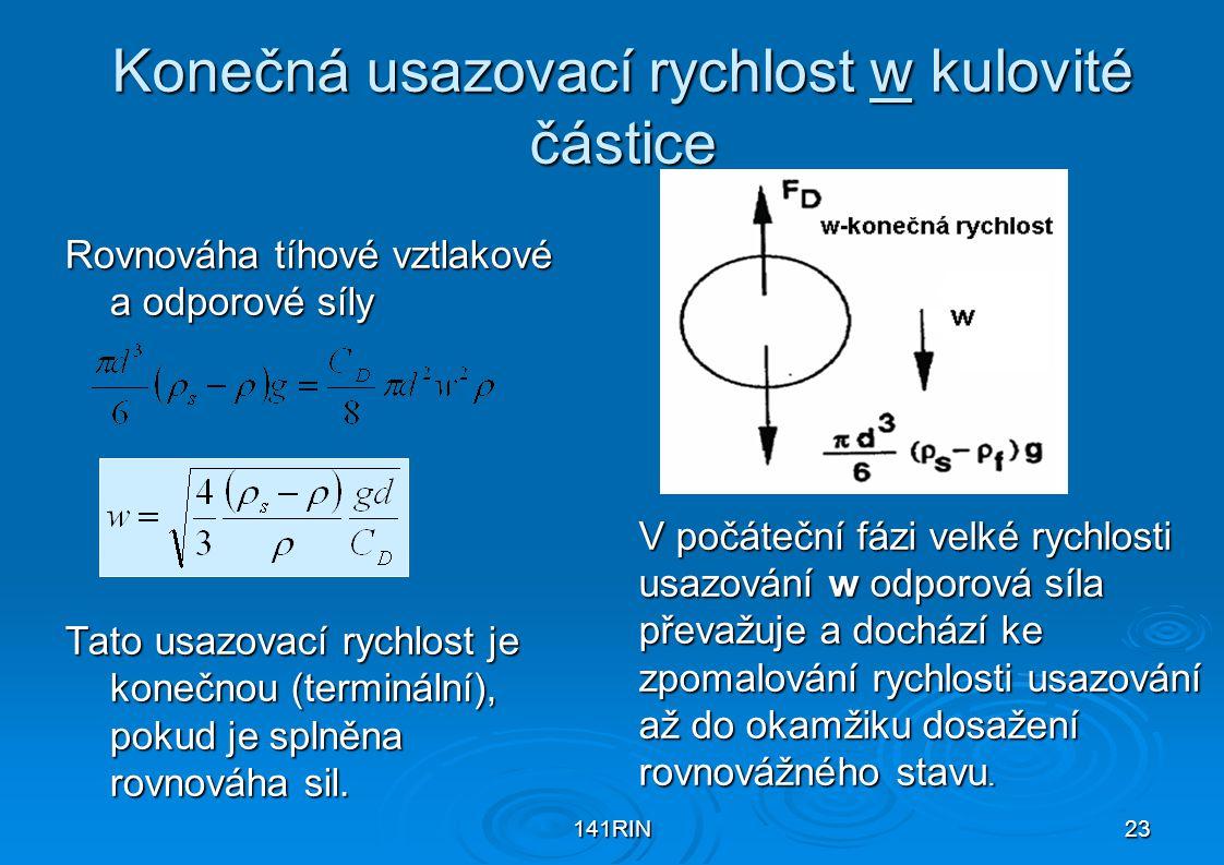 Konečná usazovací rychlost w kulovité částice