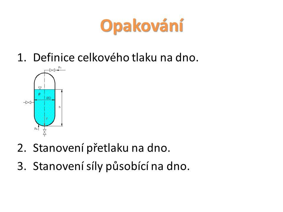 Opakování Definice celkového tlaku na dno. Stanovení přetlaku na dno.
