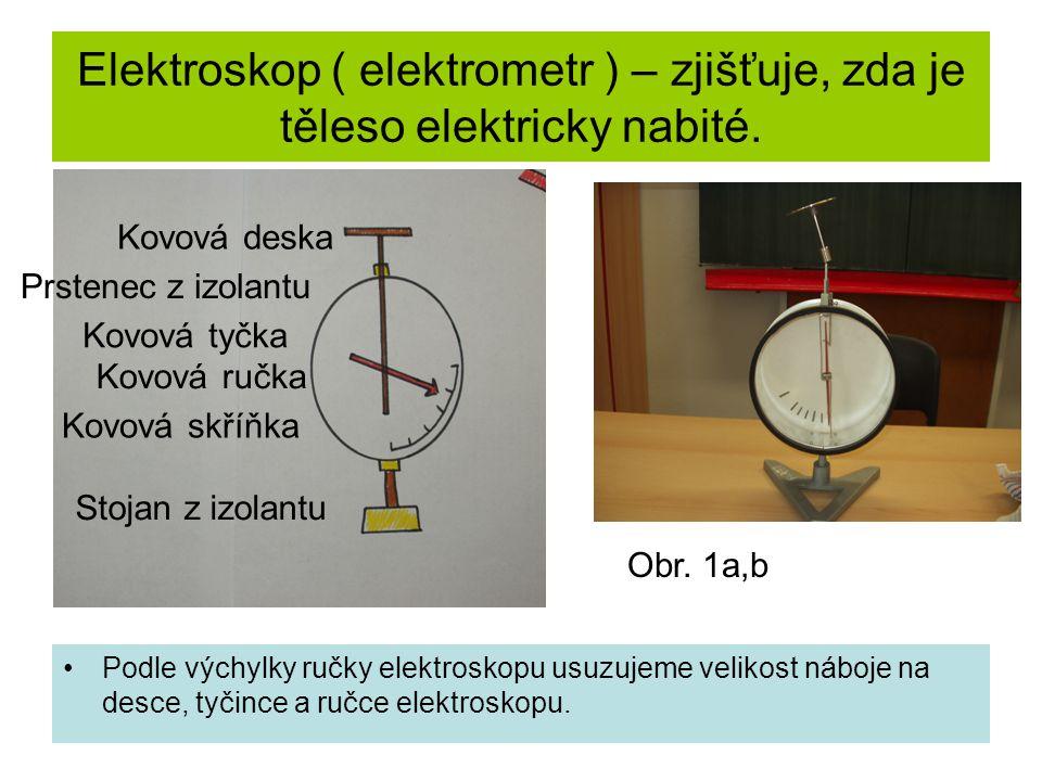 Elektroskop ( elektrometr ) – zjišťuje, zda je těleso elektricky nabité.