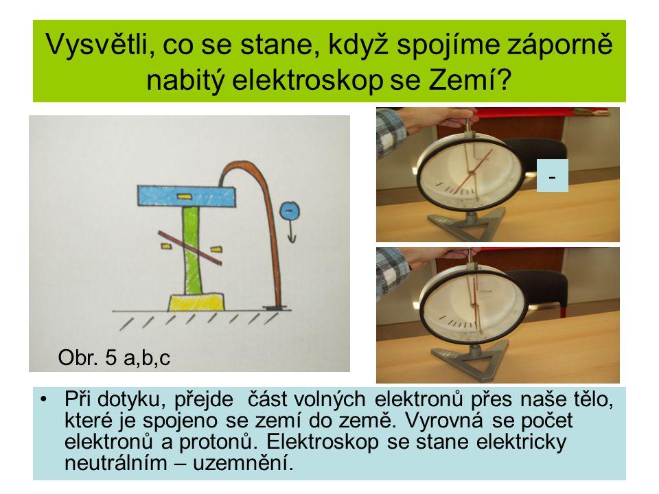 Vysvětli, co se stane, když spojíme záporně nabitý elektroskop se Zemí