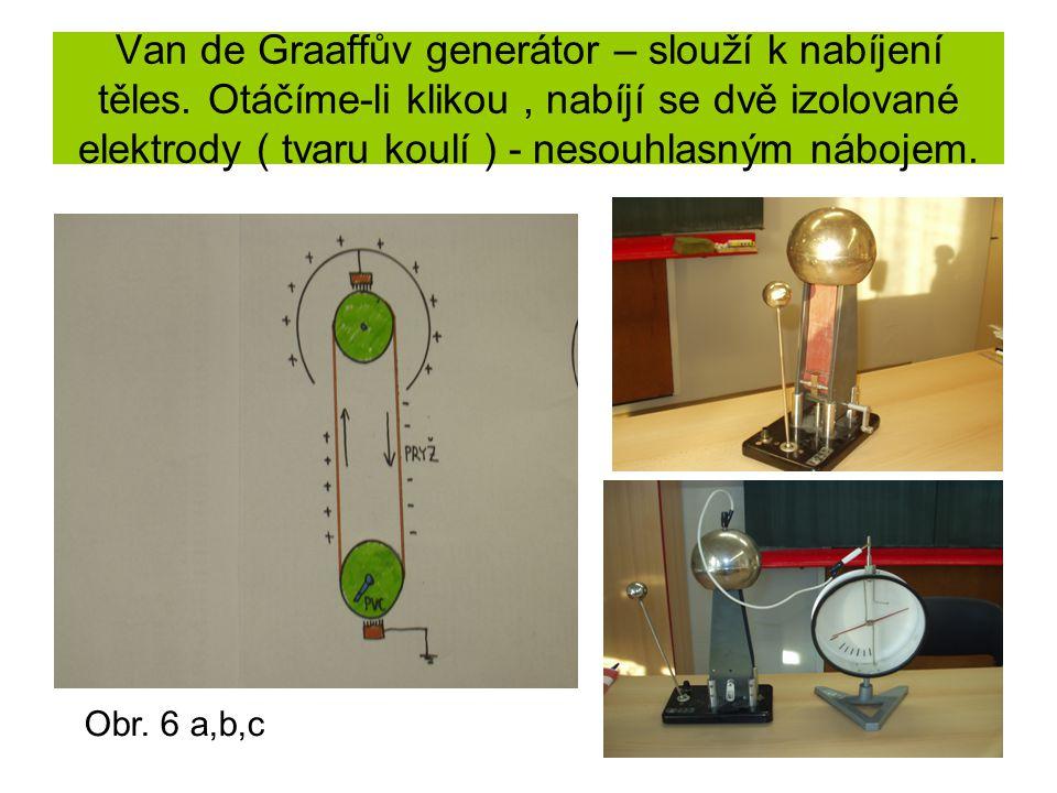 Van de Graaffův generátor – slouží k nabíjení těles