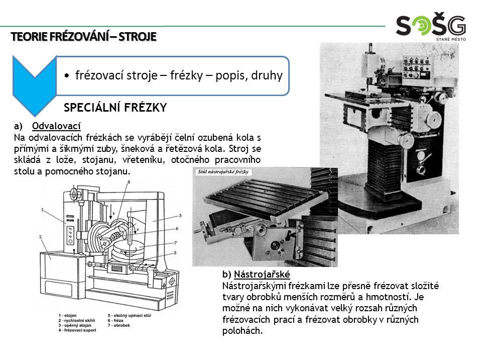 Teorie frézování – stroje frézovací stroje – frézky – popis, druhy