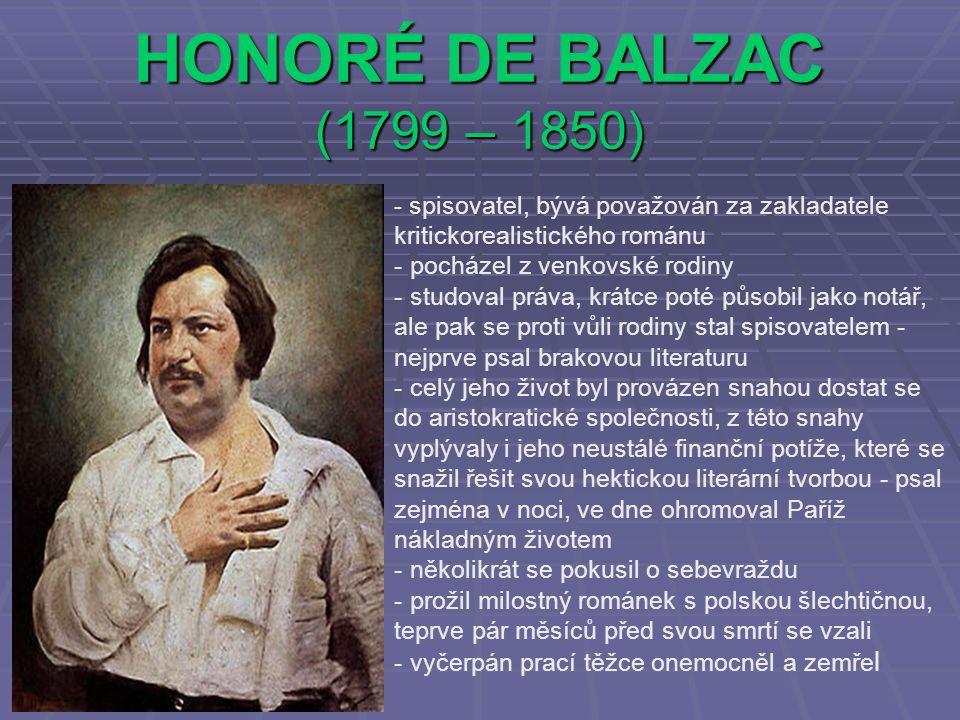 HONORÉ DE BALZAC (1799 – 1850) pocházel z venkovské rodiny