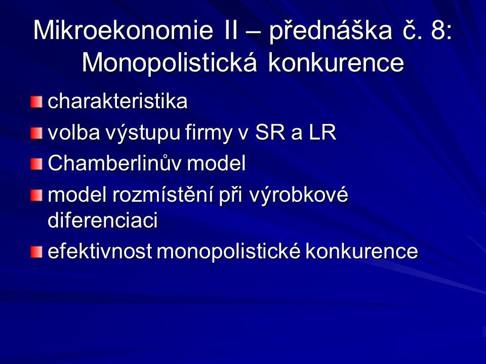 Mikroekonomie II – přednáška č. 8: Monopolistická konkurence