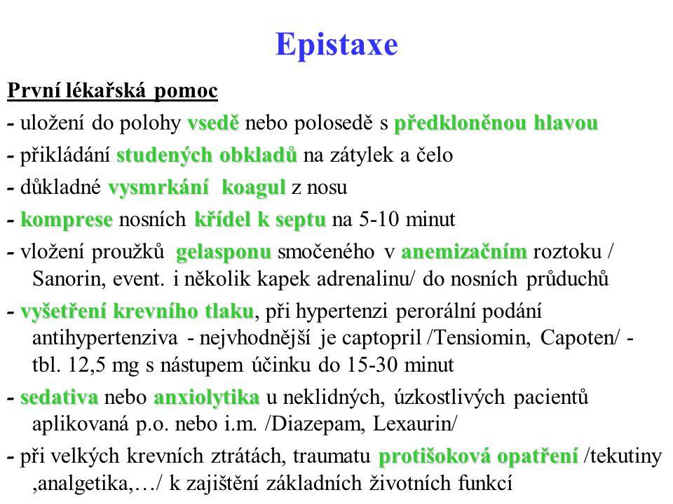 Epistaxe První lékařská pomoc