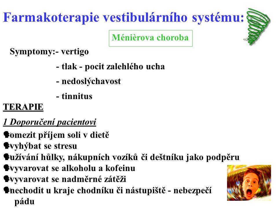 Farmakoterapie vestibulárního systému:
