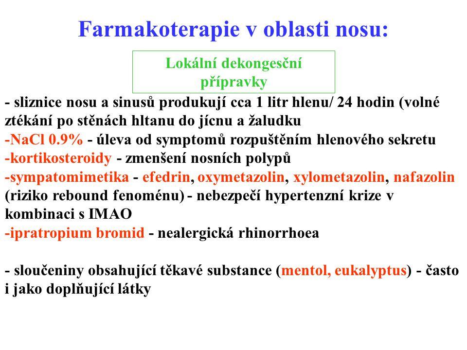 Farmakoterapie v oblasti nosu: Lokální dekongesční přípravky