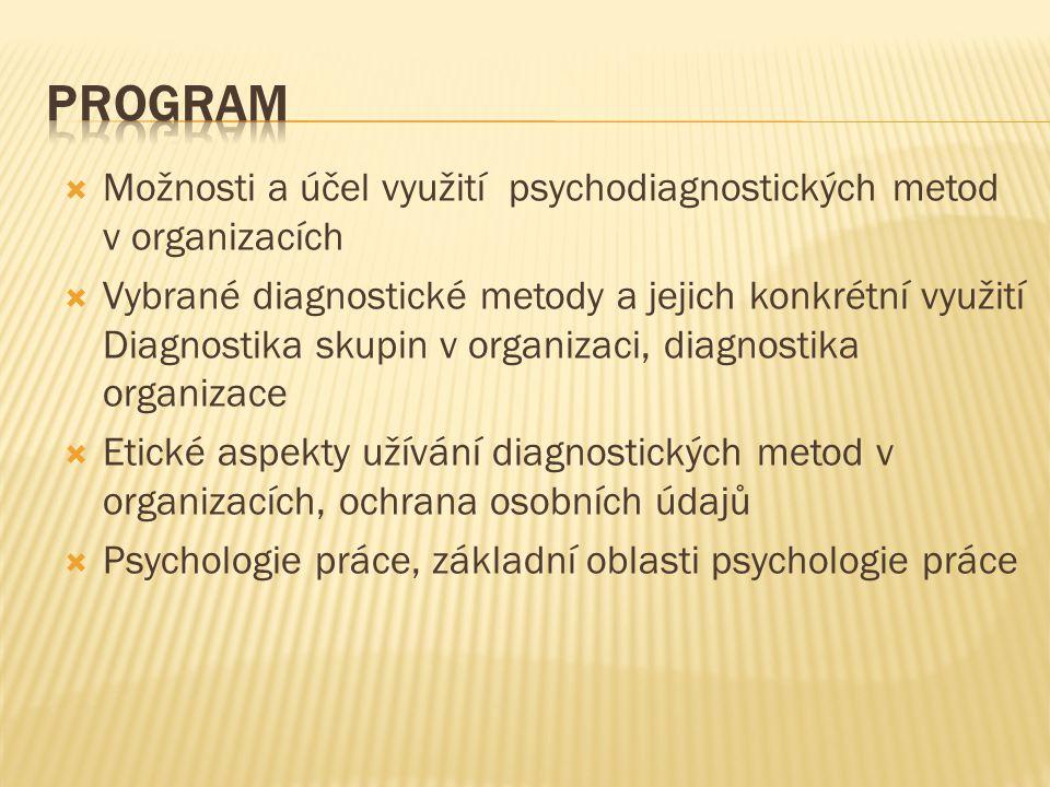 program Možnosti a účel využití psychodiagnostických metod v organizacích.