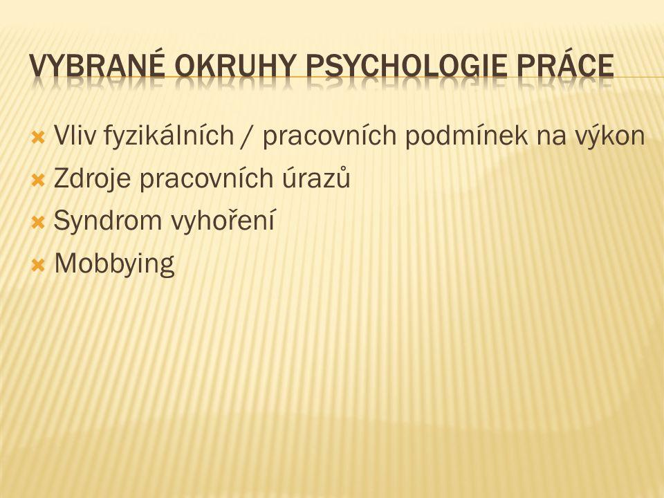 vybrané okruhy psychologie práce