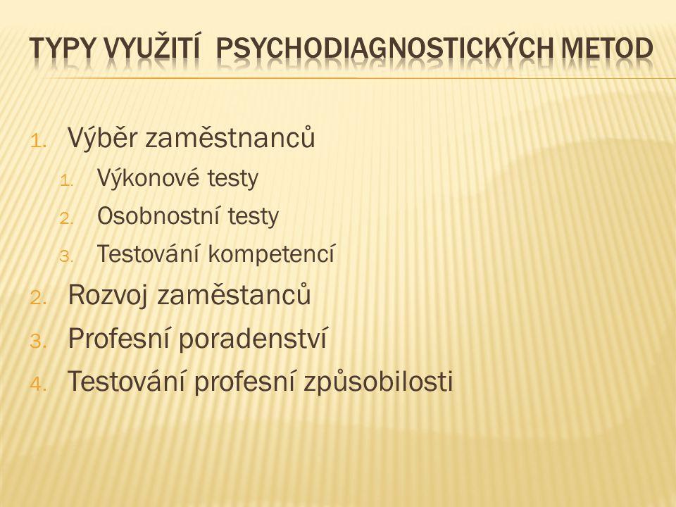 Typy využití psychodiagnostických metod