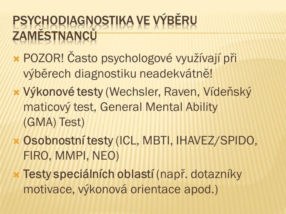 Psychodiagnostika ve Výběru zaměstnanců