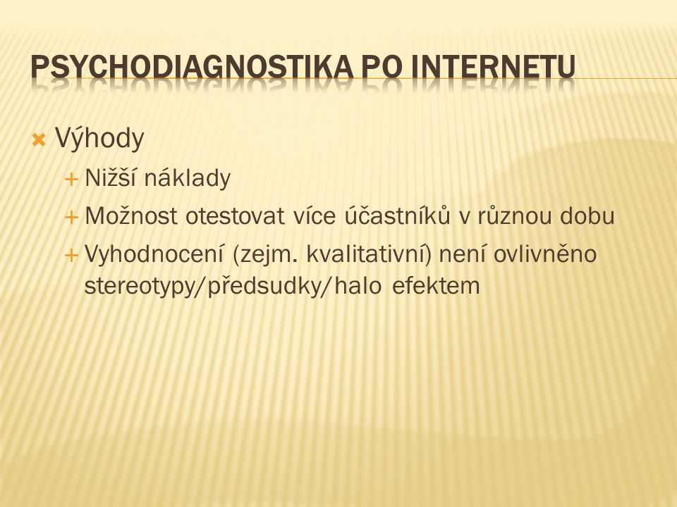 Psychodiagnostika PO INTERNETU