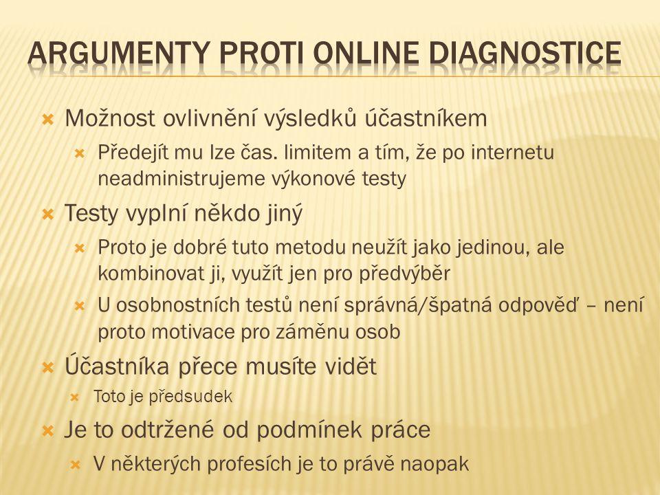 Argumenty proti online diagnostice
