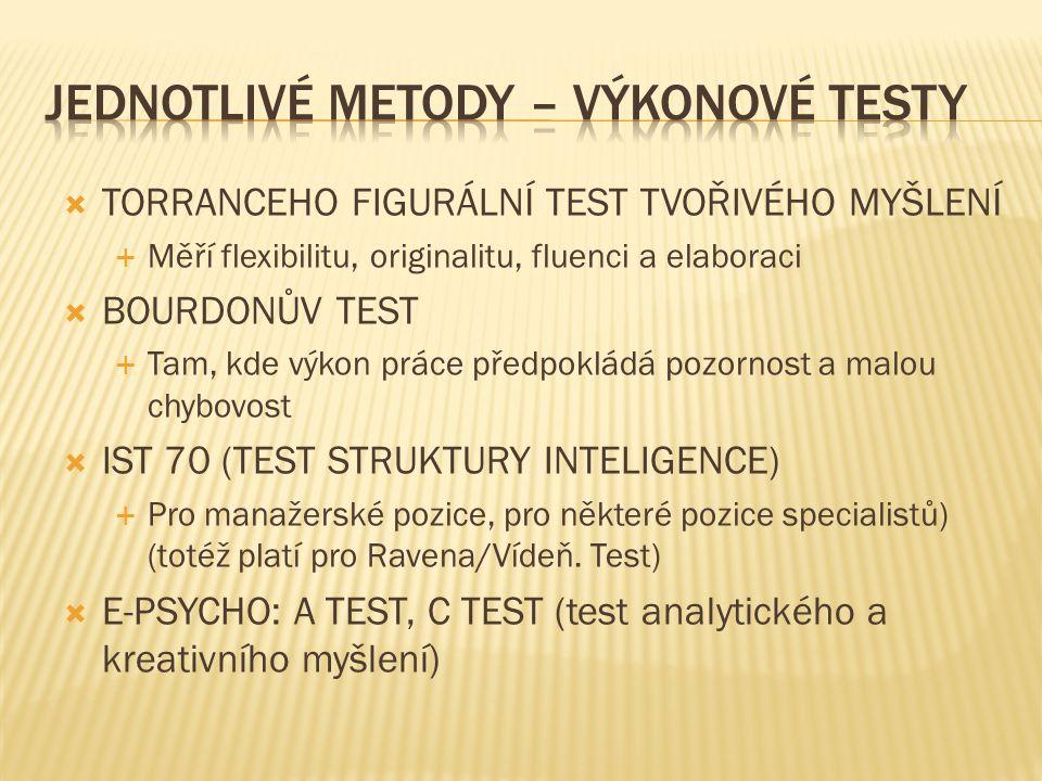 Jednotlivé metody – výkonové testy