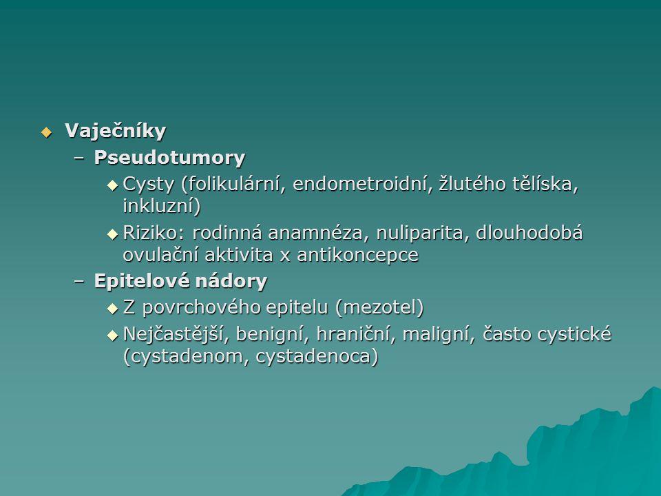 Vaječníky Pseudotumory. Cysty (folikulární, endometroidní, žlutého tělíska, inkluzní)