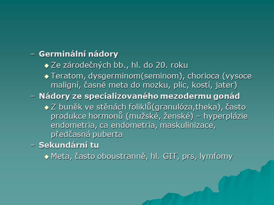 Germinální nádory Ze zárodečných bb., hl. do 20. roku.