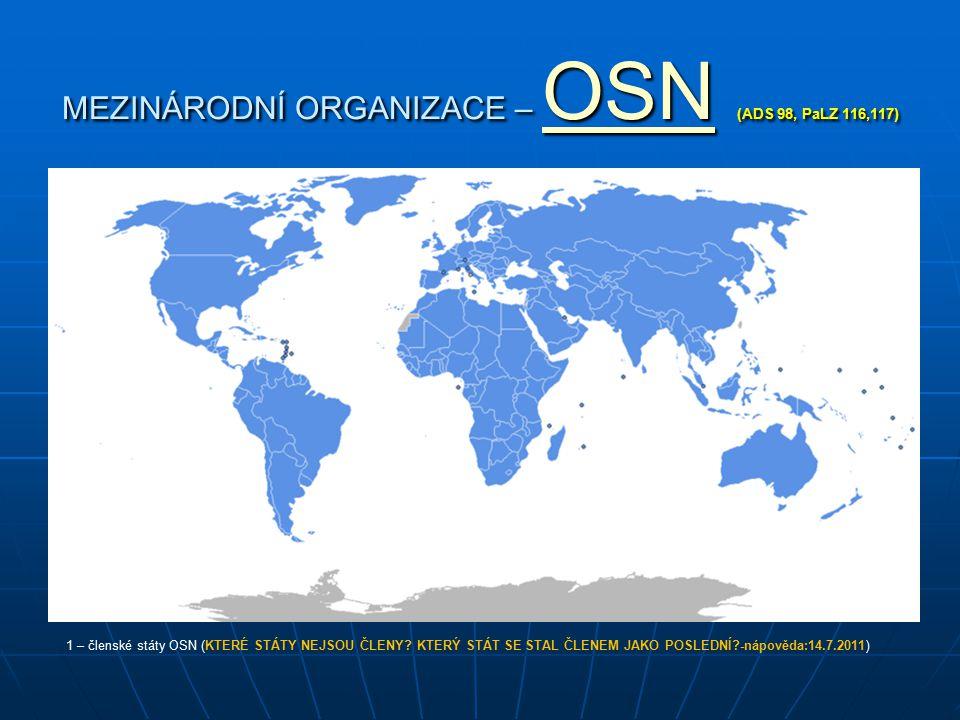 MEZINÁRODNÍ ORGANIZACE – OSN (ADS 98, PaLZ 116,117)