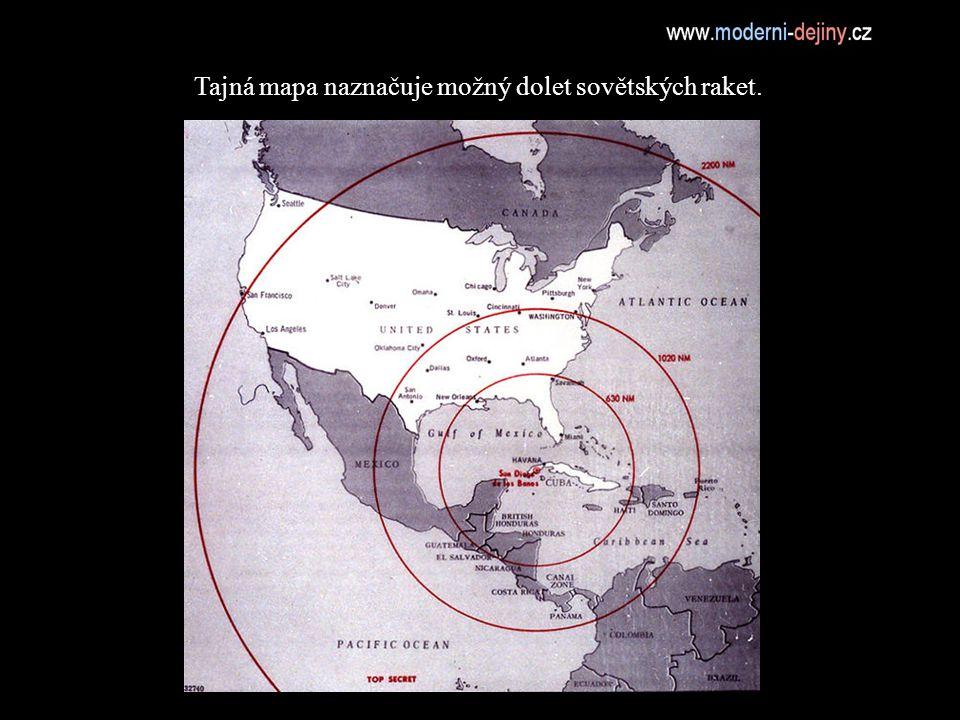 Tajná mapa naznačuje možný dolet sovětských raket.