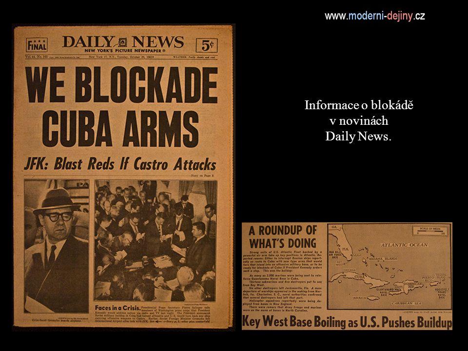 Informace o blokádě v novinách Daily News.