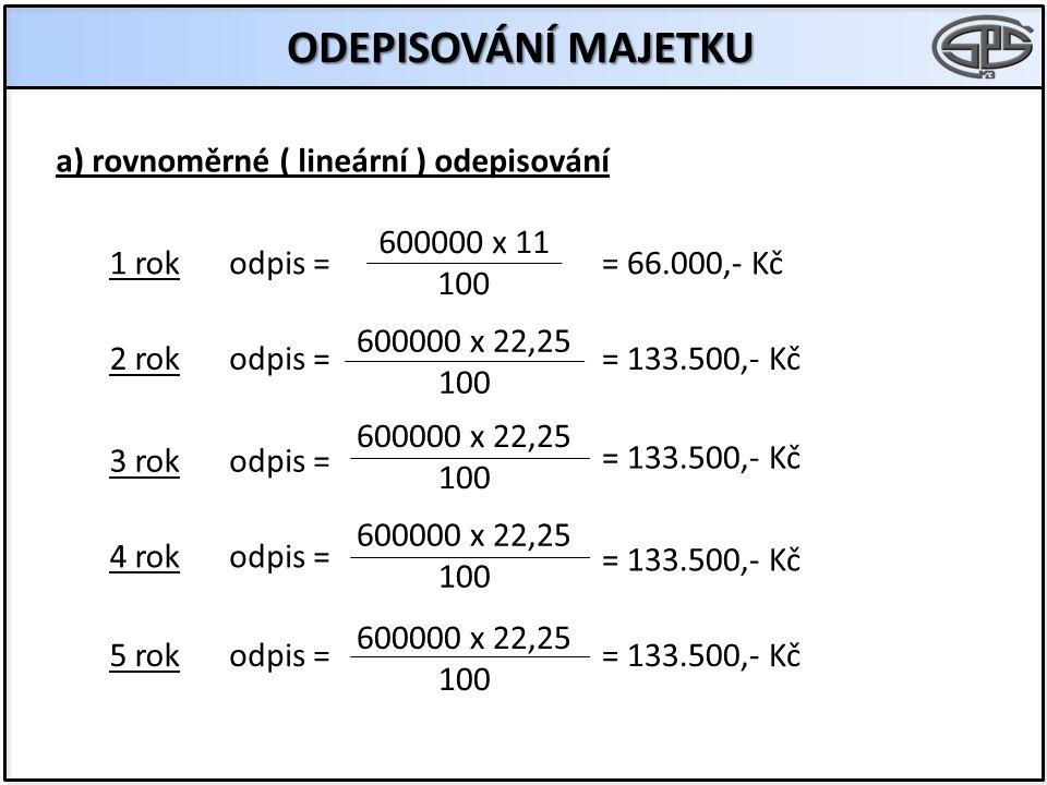 ODEPISOVÁNÍ MAJETKU a) rovnoměrné ( lineární ) odepisování 600000 x 11