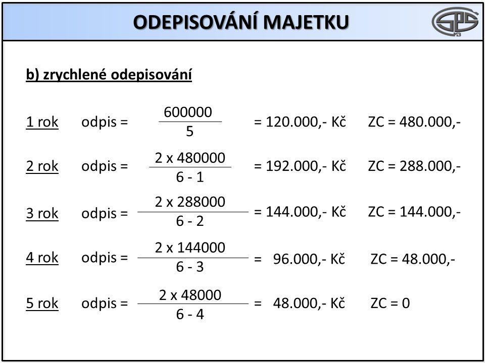 ODEPISOVÁNÍ MAJETKU b) zrychlené odepisování 600000 5 1 rok odpis =