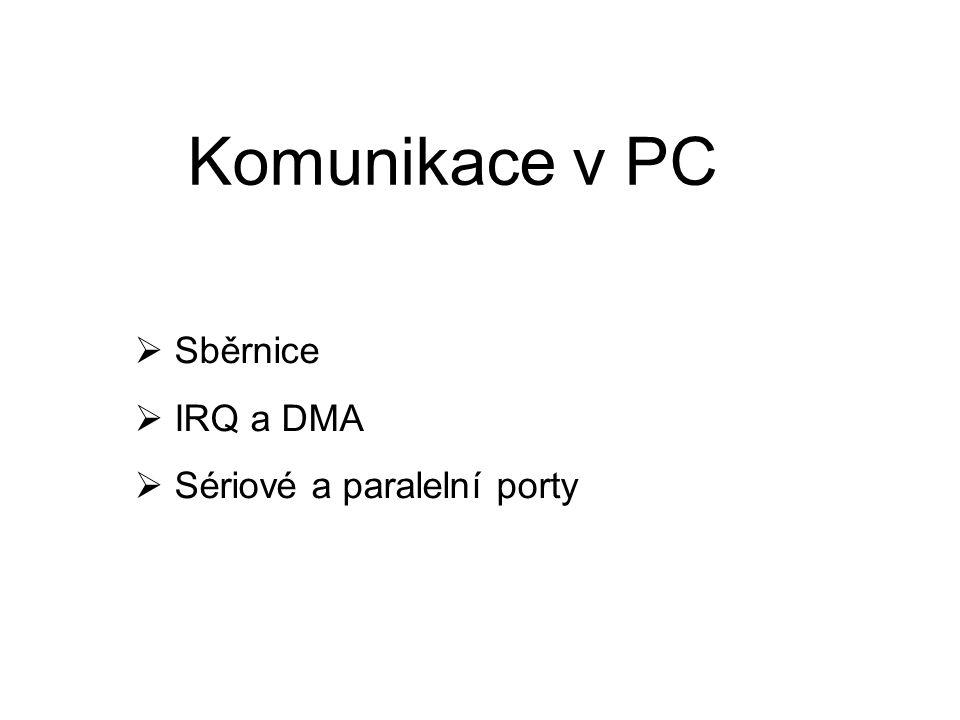 Komunikace v PC Sběrnice IRQ a DMA Sériové a paralelní porty