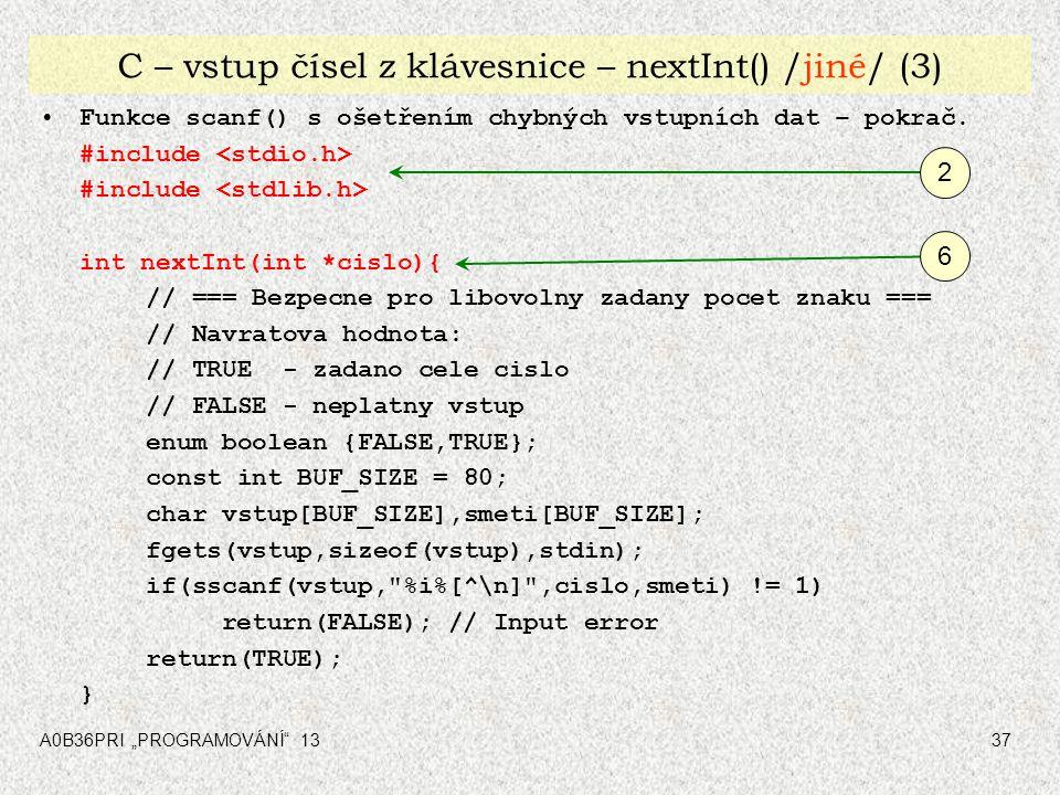 C – vstup čísel z klávesnice – nextInt() /jiné/ (3)