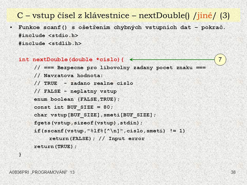 C – vstup čísel z klávestnice – nextDouble() /jiné/ (3)