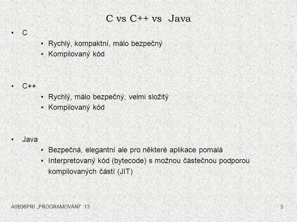 C vs C++ vs Java C Rychlý, kompaktní, málo bezpečný Kompilovaný kód