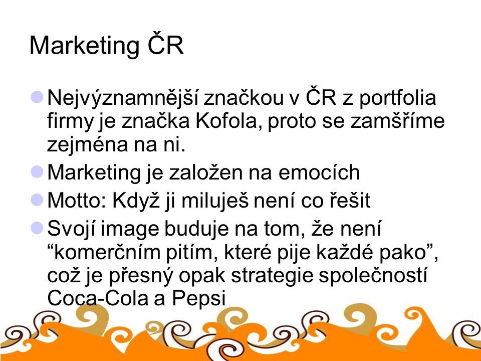 Marketing ČR Nejvýznamnější značkou v ČR z portfolia firmy je značka Kofola, proto se zamšříme zejména na ni.