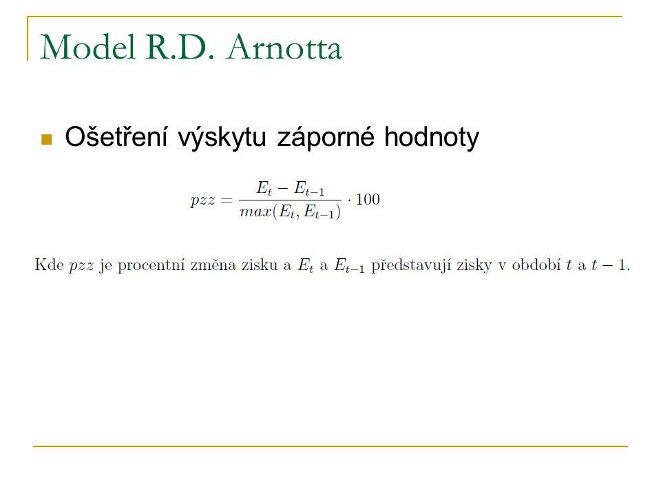Model R.D. Arnotta Ošetření výskytu záporné hodnoty