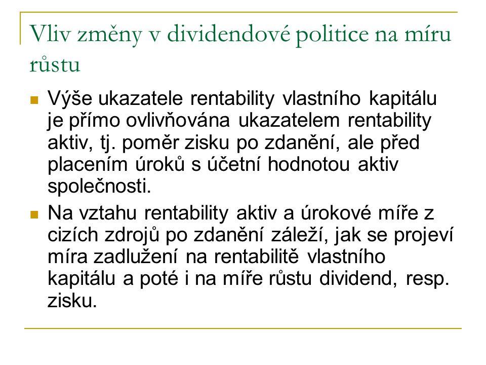 Vliv změny v dividendové politice na míru růstu