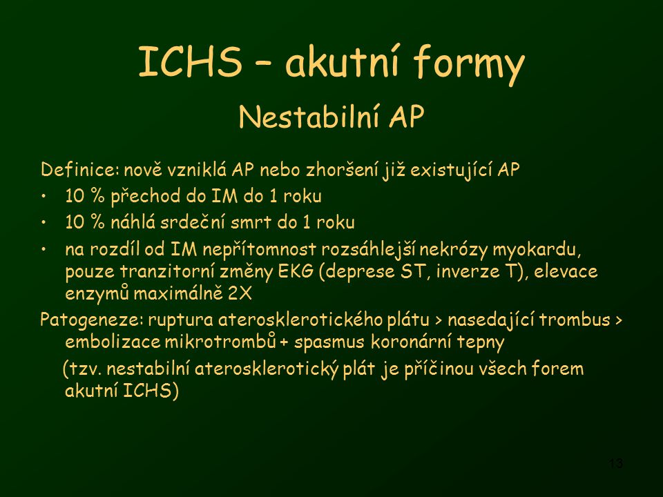ICHS – akutní formy Nestabilní AP