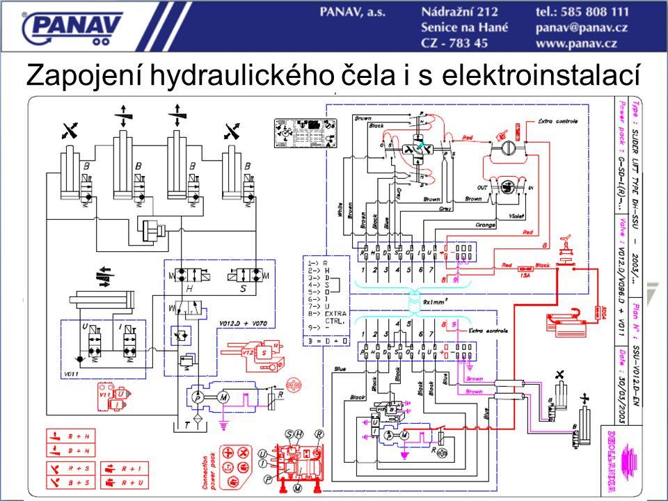 Zapojení hydraulického čela i s elektroinstalací