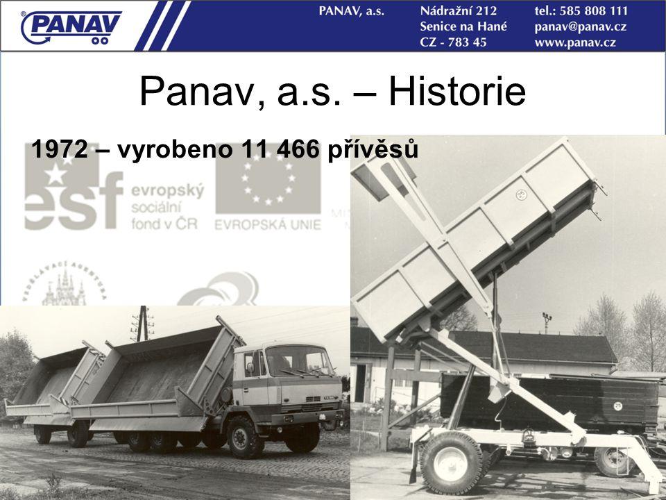 Panav, a.s. – Historie 1972 – vyrobeno 11 466 přívěsů