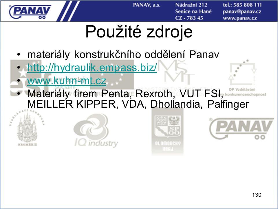 Použité zdroje materiály konstrukčního oddělení Panav