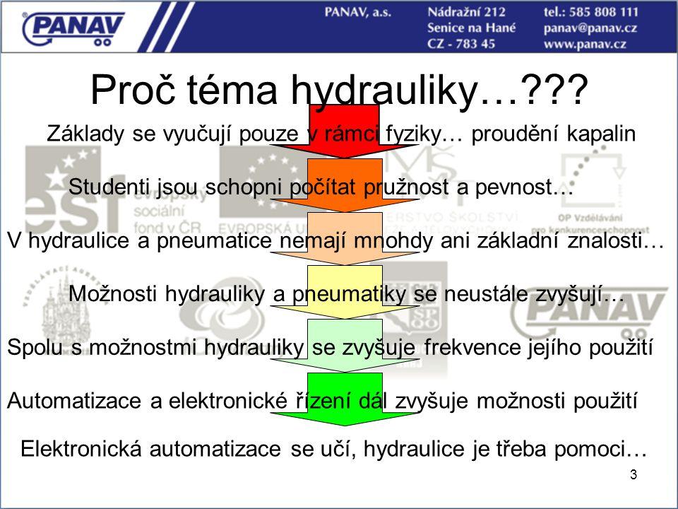 Proč téma hydrauliky… Základy se vyučují pouze v rámci fyziky… proudění kapalin. Studenti jsou schopni počítat pružnost a pevnost…