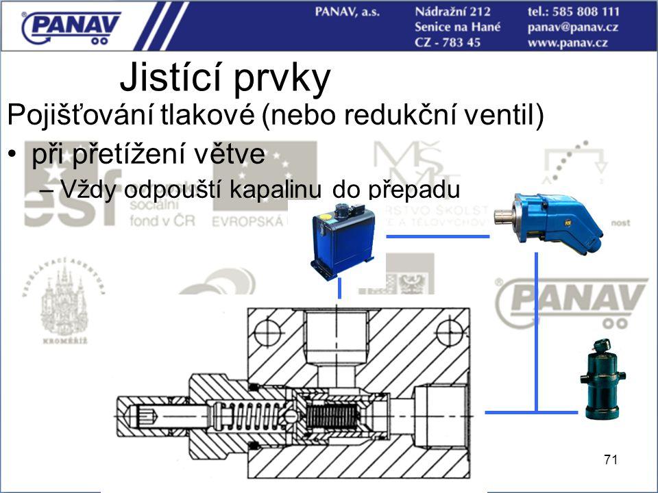 Jistící prvky Pojišťování tlakové (nebo redukční ventil)