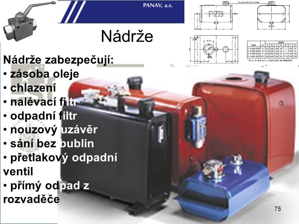 Nádrže Nádrže zabezpečují: zásoba oleje chlazení nalévací filtr