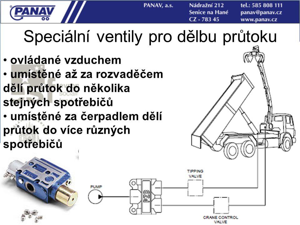 Speciální ventily pro dělbu průtoku